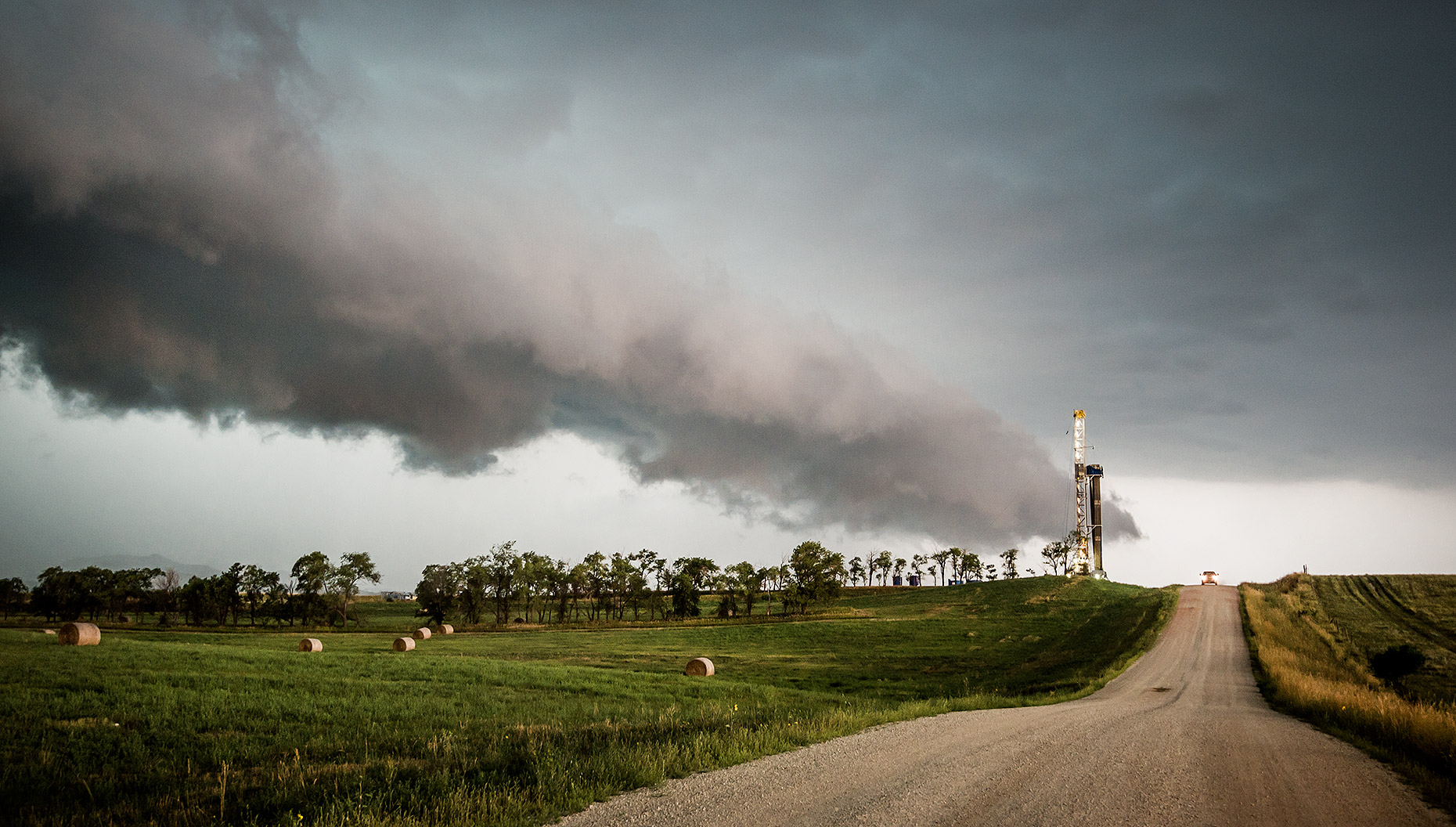 Oil Drilling Rig and Thunderstorm