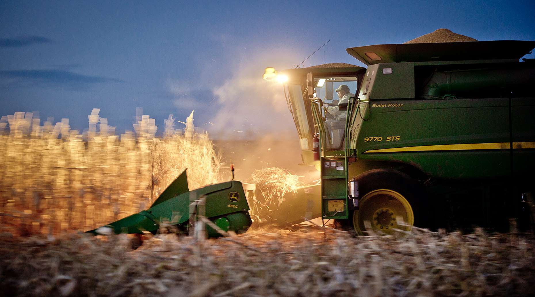 Combining Corn at Dusk Photograph