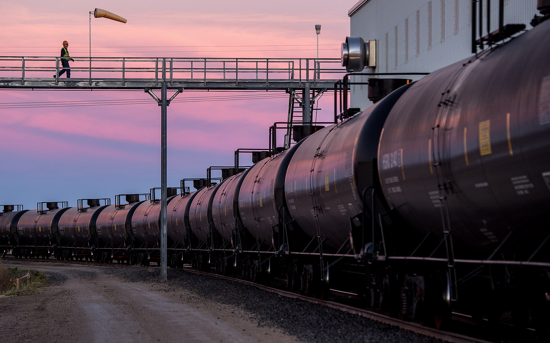 Crude Railcars at Sunrise