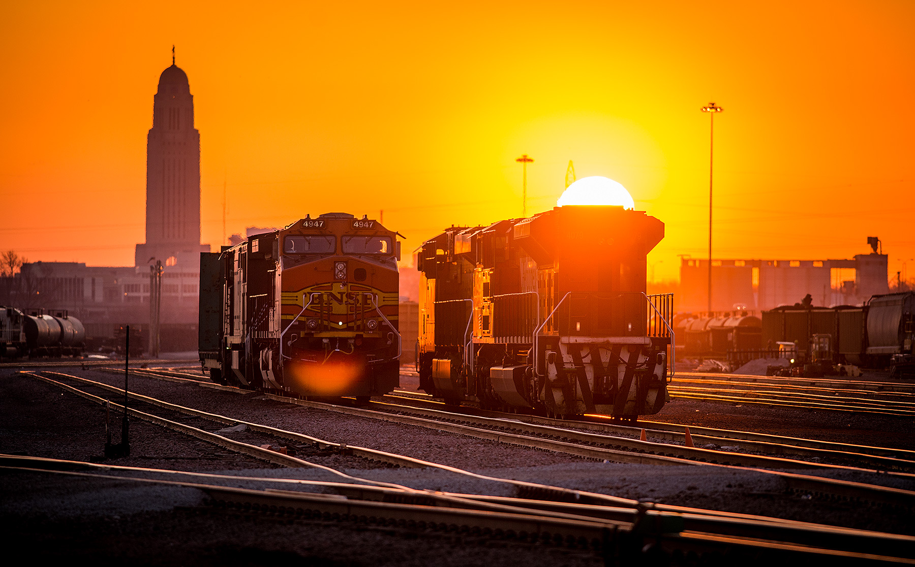 Trains at Sunrise Photograph