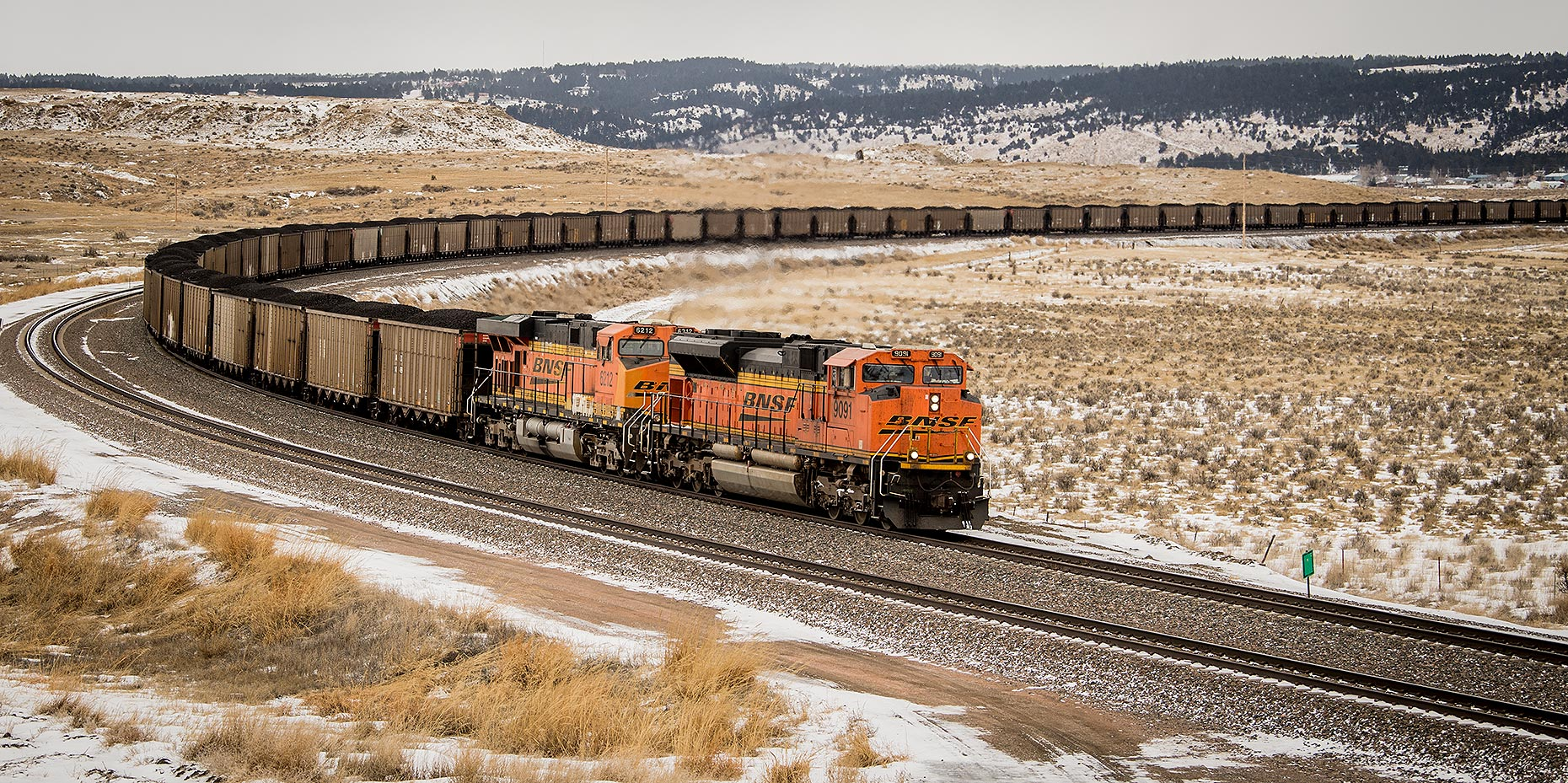 Train in Wyoming in Winter