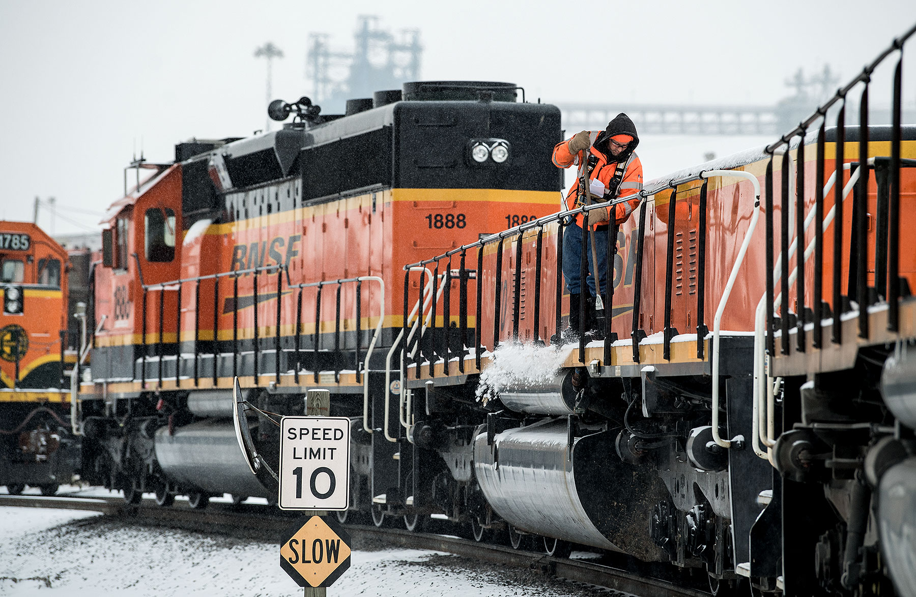 Train Engines in Snow Photo