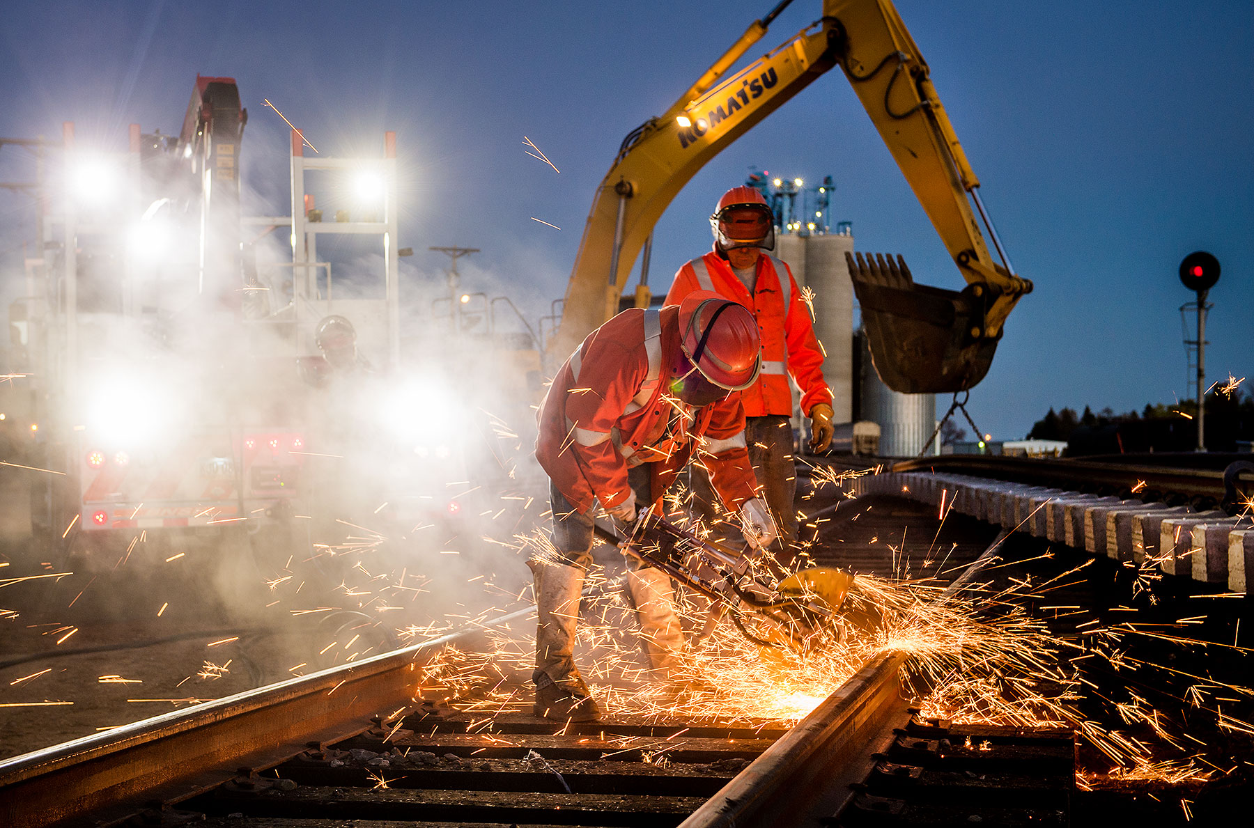 Cutting Rails at Night
