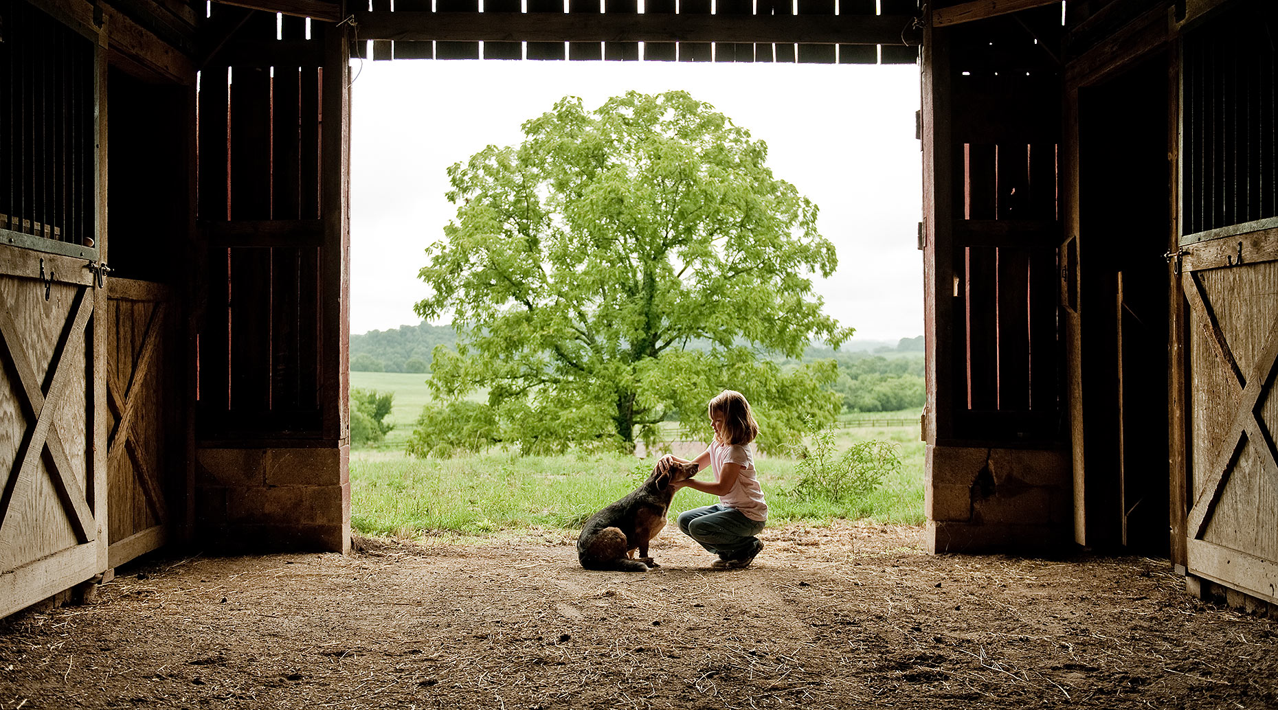 Girl and Dog in Barn on Farm