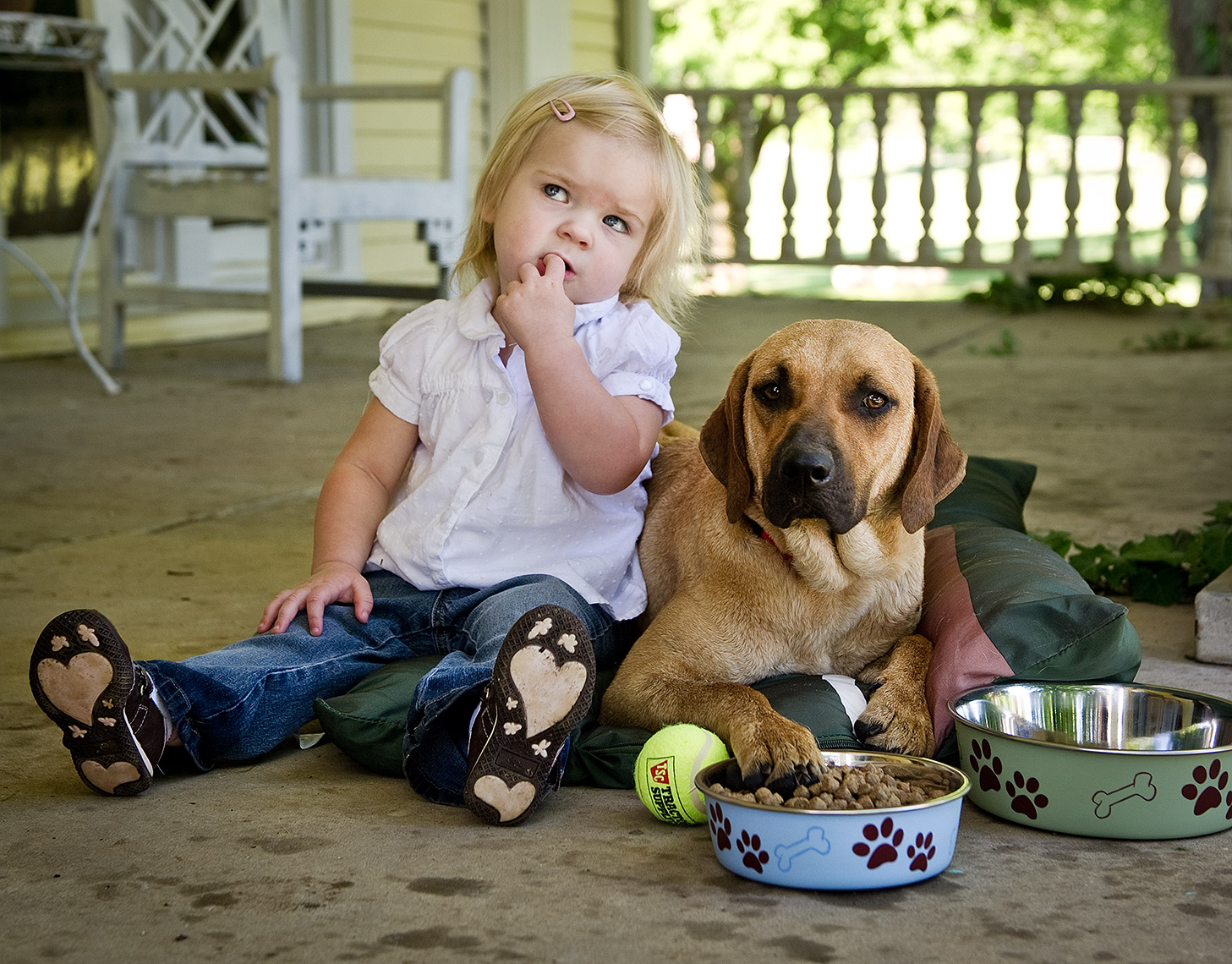 Dog and Girl on Front Porch