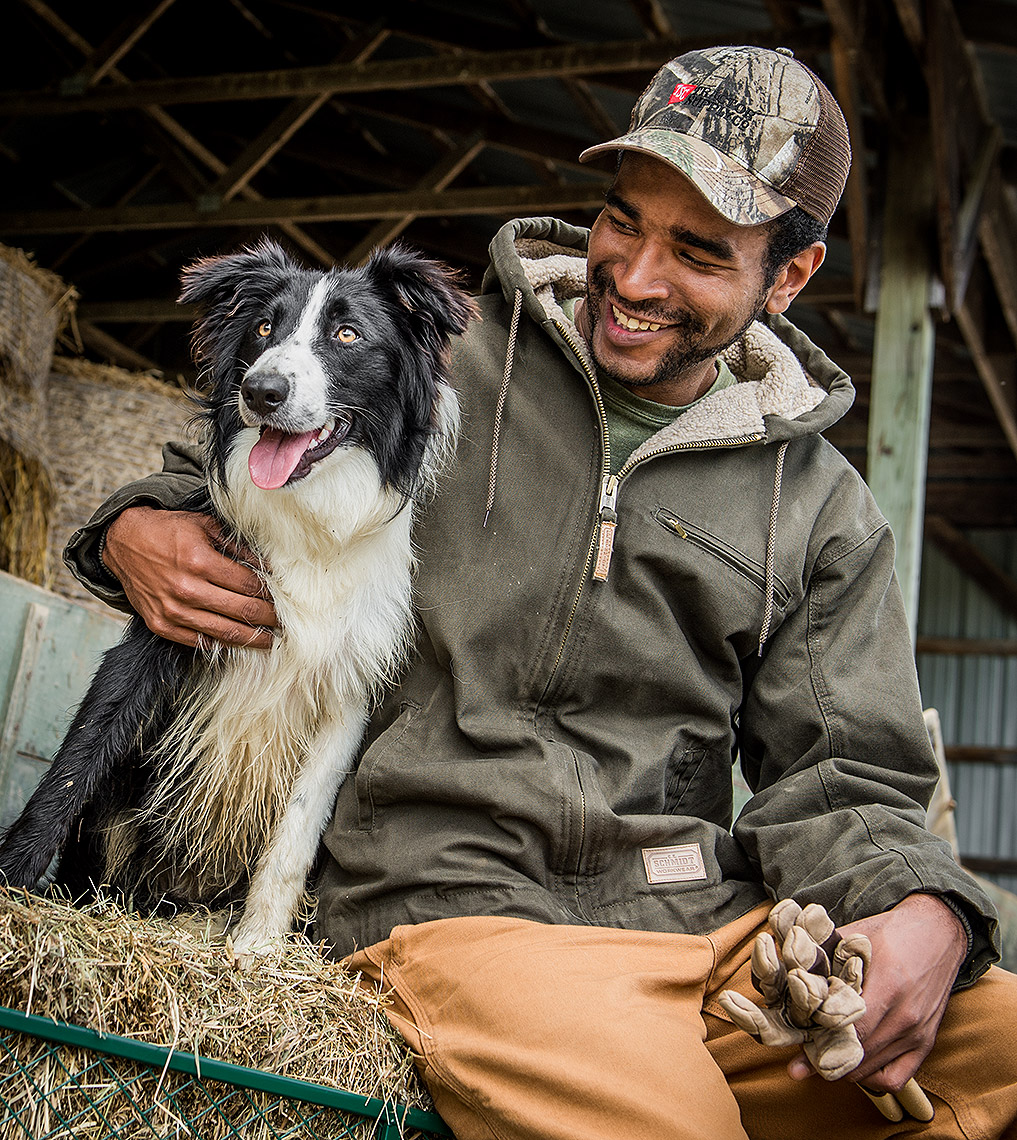 Farmer with Border Collie Photo