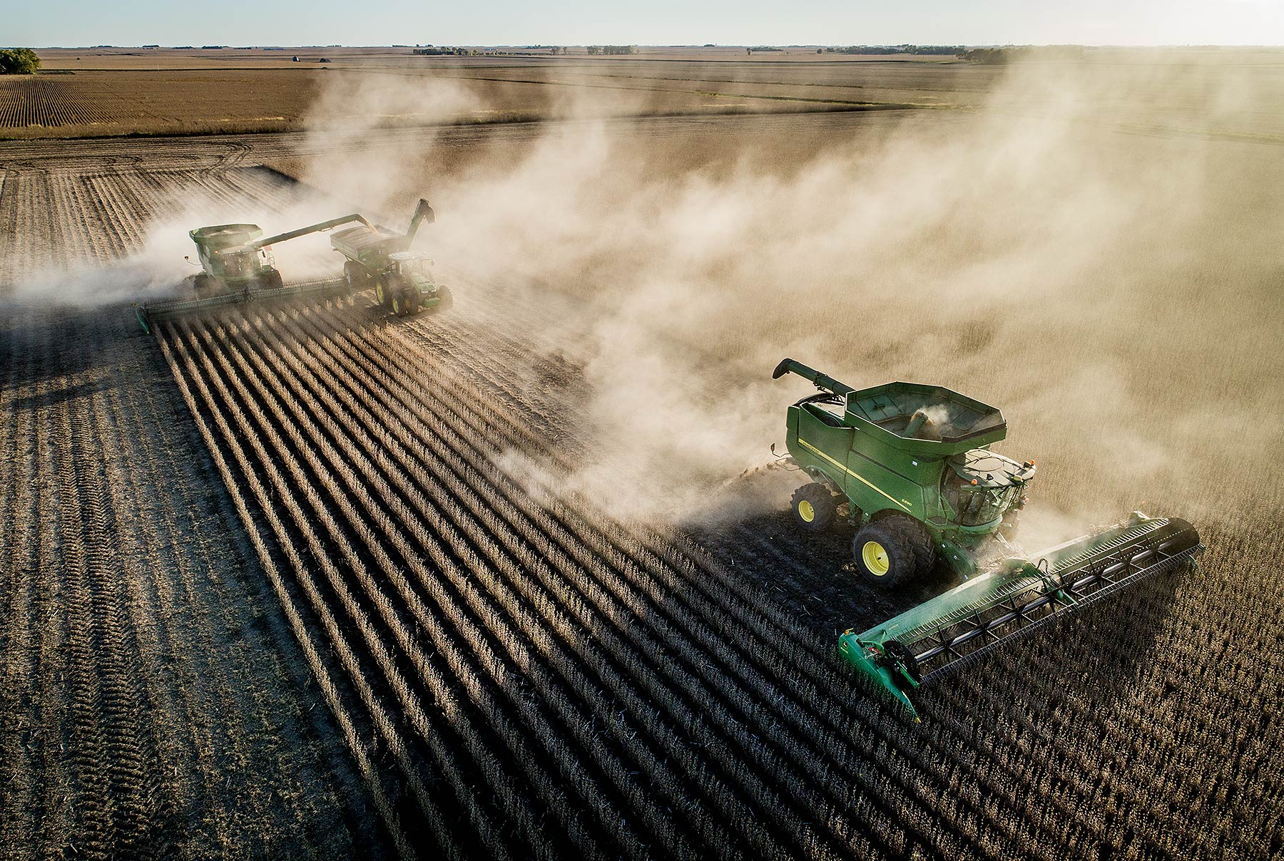 Soybean Harvest Drone Photograph