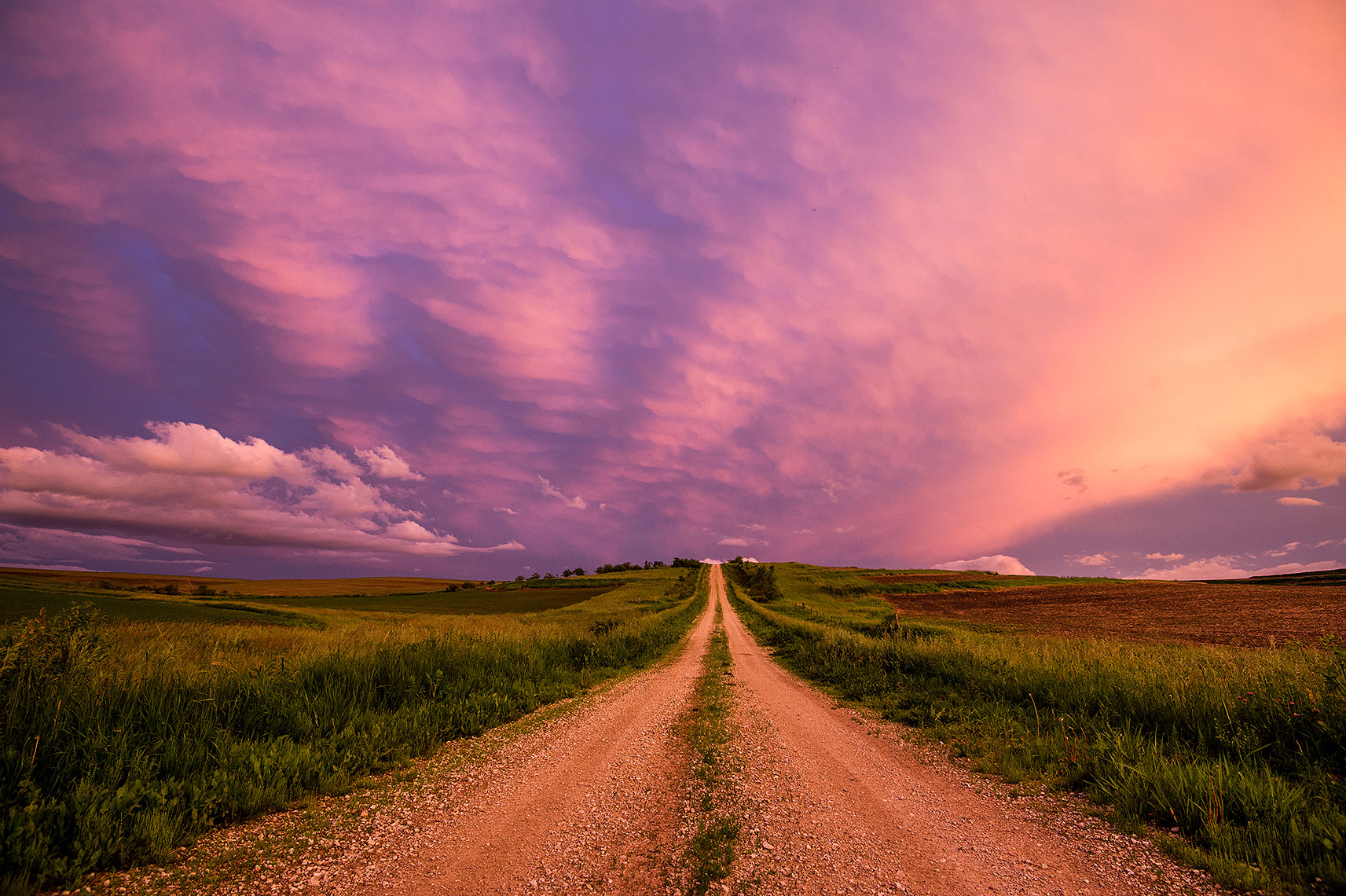Colorful Sunset and Country Road