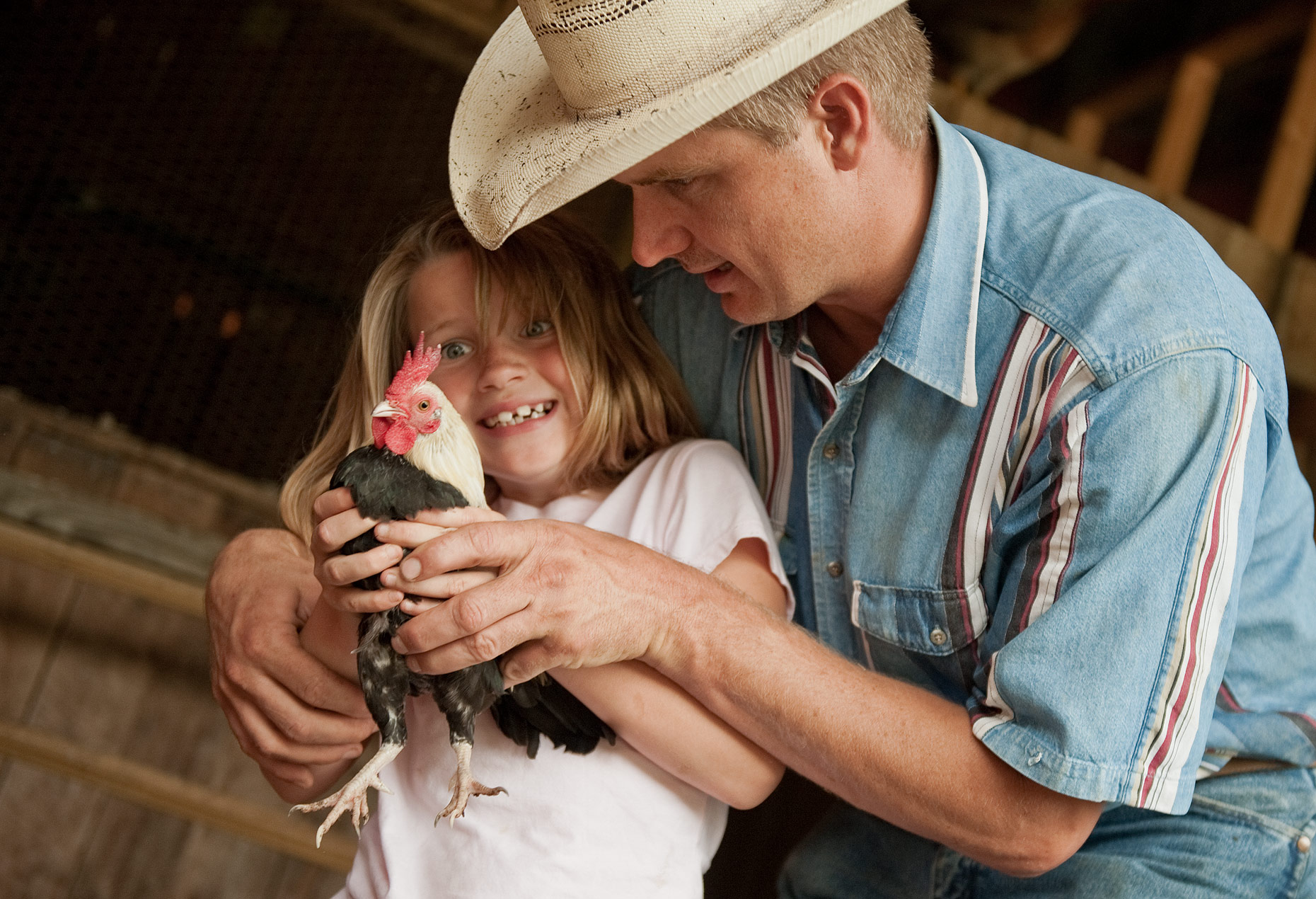 Girl and Father with Chicken and Poultry Photography