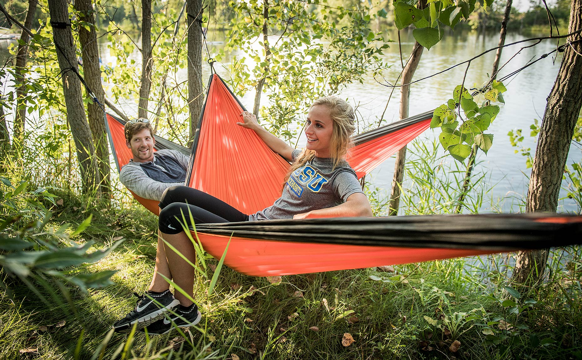 Students in Hammocks at Recreation Area
