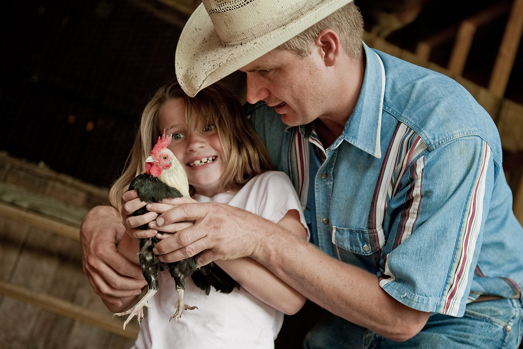 Father and Daughter and Chicken