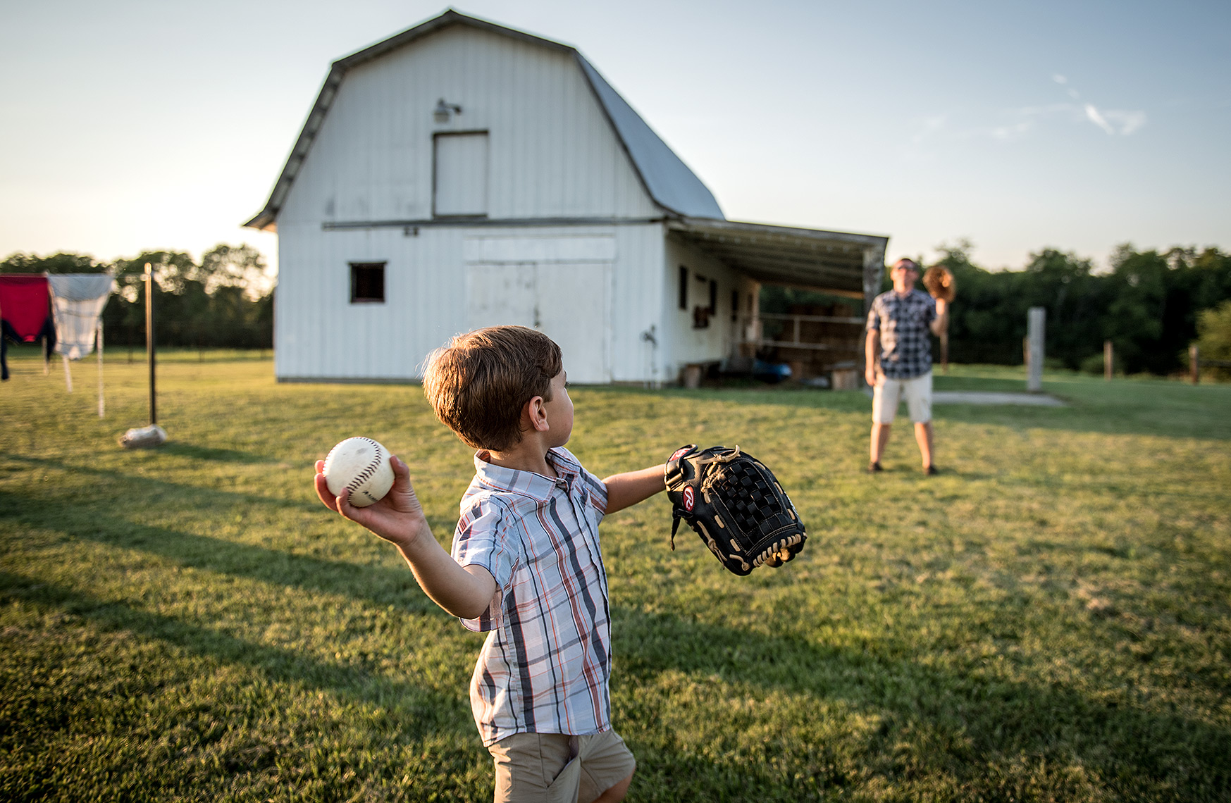 Father and Son Playing Baseball