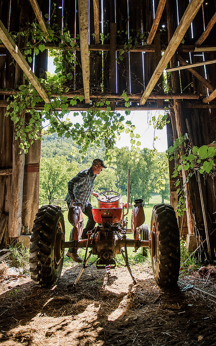 Tractor in Barn Photograph